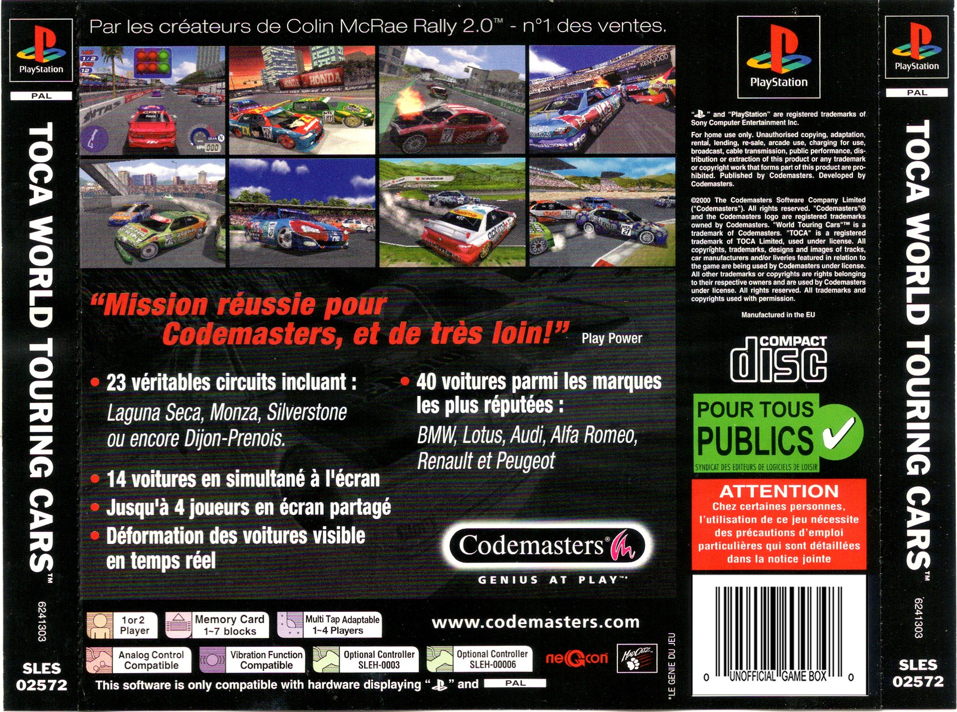 TOCA World Touring Cars PSX Cover