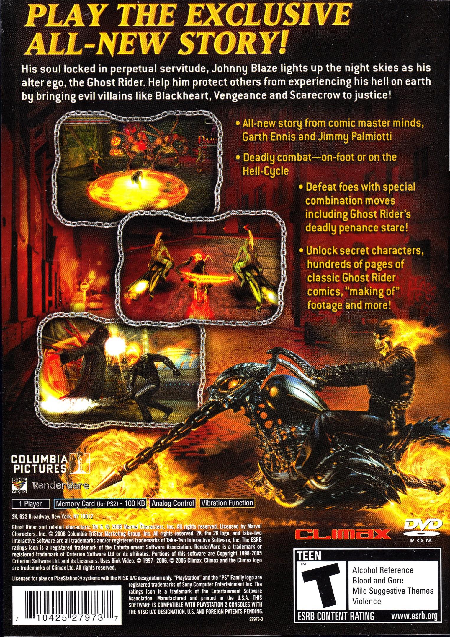 GHOST RIDER (NTSC-U) - BACK